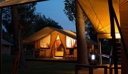 Representation of the outside of a Safari Tent
