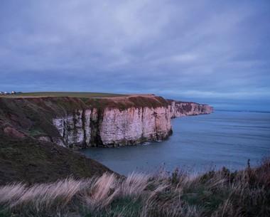 Clifftop walks around the headland at Thornwick Bay